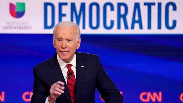 Democratic U.S. presidential candidate and former Vice President Joe Biden speaks during the 11th Democratic candidates debate of the 2020 U.S. presidential campaign, held in CNN's Washington studios without an audience because of the global coronavirus pandemic, in Washington, U.S., March 15, 2020. - Sputnik International