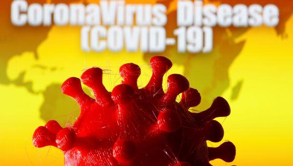A 3D-printed coronavirus model is seen in front of a world map - Sputnik International