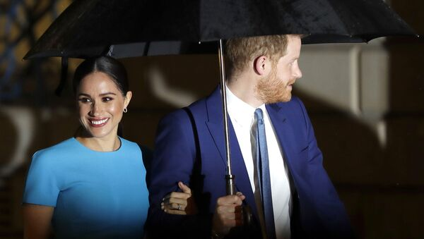 Britain's Prince Harry and Meghan, the Duke and Duchess of Sussex arrive at the annual Endeavour Fund Awards in London, 5 March 2020 - Sputnik International