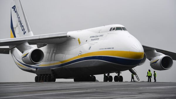 A Russian made Antonov An-124, one of the biggest cargo planes in the world, is pictured on May 29, 2019, on the tarmac of the airport in Brest, Western France.  - Sputnik International