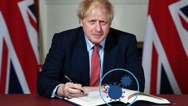 Boris Johnson signs Brexit with COVID-19 sign on book - Sputnik International
