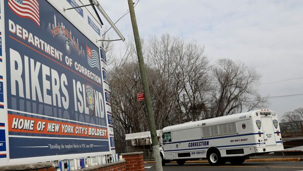 An NYC Department of Corrections vehicle drives in the entrance to Rikers Island facility in Queens, in New York, U.S., February 14, 2018 - Sputnik International