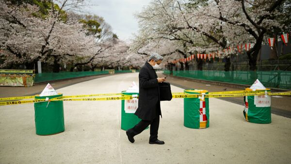 A man wearing a protective face mask, following an outbreak of the coronavirus disease (COVID-19), walks past a closed cherry blossom viewing spot during the first weekend after Tokyo Governor Yuriko Koike (not pictured) urged Tokyo residents to stay indoors in a bid to keep the coronavirus disease from spreading, at Ueno park in Tokyo, Japan March 28, 2020 - Sputnik International