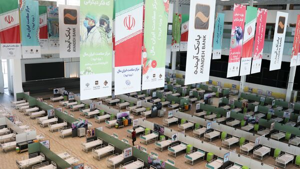 A view of beds at a shopping mall, one of Iran's largest, which has been turned into a centre to receive patients suffering from the coronavirus disease (COVID-19), in Tehran, Iran, April 4, 2020 - Sputnik International