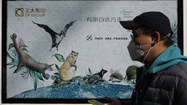 A man wearing a protective face mask walks by a propaganda poster promoting to protect wildlife animals after authorities crackdowns on wild animal markets following the coronavirus outbreak in Beijing, Wednesday, March 11, 2020. - Sputnik International