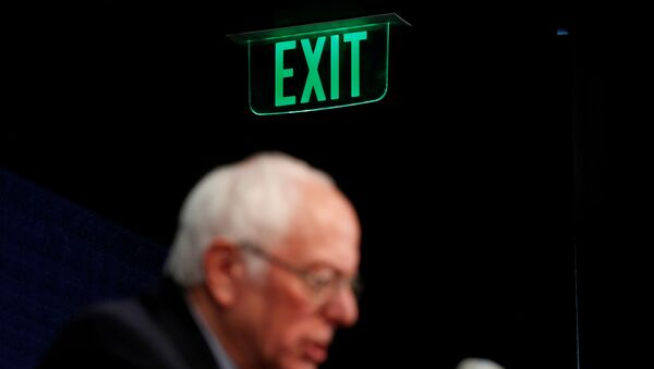 U.S. Democratic presidential candidate Senator Bernie Sanders announces that he will be continuing his campaign for U.S. president at least through his March 15 debate with former Vice President Joe Biden as he holds a news conference in Burlington, Vermont, U.S. March 11, 2020 - Sputnik International