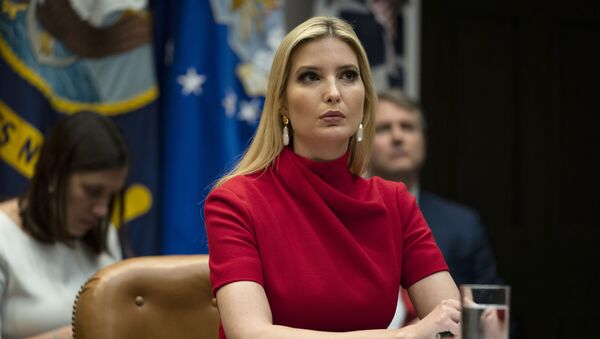 Ivanka Trump listens as President Donald Trump speaks during a conference call with banks on efforts to help small businesses during the coronavirus pandemic, at the White House, Tuesday, April 7, 2020, in Washington - Sputnik International