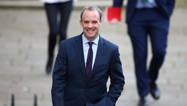 Britain's Secretary of State for Foreign affairs Dominic Raab arrives in Downing Street as the spread of the coronavirus disease (COVID-19) continues, London, Britain, April 8, 2020.  - Sputnik International