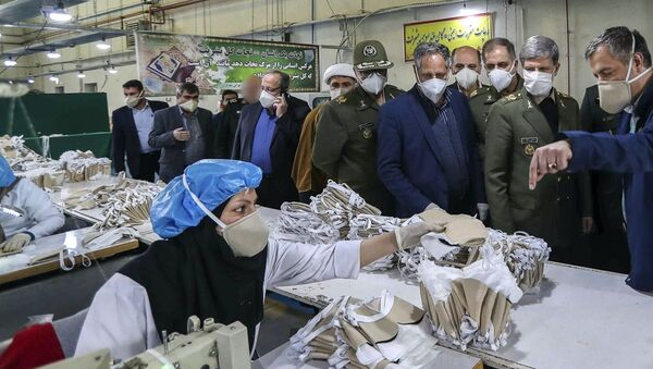 Iranian Minister of Defence Brigadier General Amir Hatami opens production line for protective face masks with ionized filtering technology. 09.04.2020. - Sputnik International