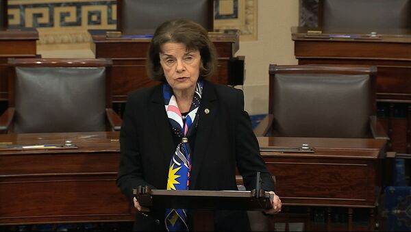 In this image from video, Sen. Dianne Feinstein, D-Calif., speaks on the Senate floor about the impeachment trial against President Donald Trump at the U.S. Capitol in Washington, Tuesday, Feb. 4, 2020. - Sputnik International
