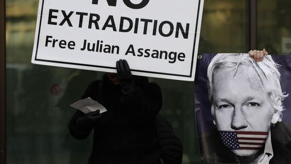 Protesters hold banners outside Westminster Magistrates Court in London, where Julian Assange is due to appear, Monday, Jan. 13, 2020.  - Sputnik International