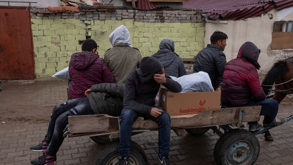 Migrants travel on a horse cart in Karaagac district near Turkey's Pazarkule border crossing with Greece's Kastanies, in Edirne, Turkey, March 10, 2020. - Sputnik International