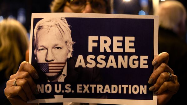 A demonstrator holds a sign during a protest called by Catalan National Assembly (ANC) under the motto Journalism is not a crime to support WikiLeaks founder Julian Assange in Barcelona on February 24, 2020. - Sputnik International