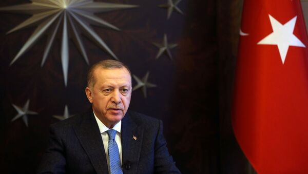 Turkish President Tayyip Erdogan attends a videoconference with G20 leaders to discuss the coronavirus disease (COVID-19) outbreak, at Huber Mansion in Istanbul, Turkey, March 26, 2020 - Sputnik International