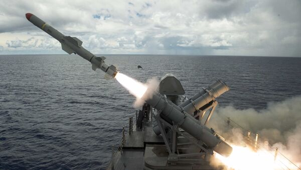 Harpoon missile launches from the missile deck of USS Coronado - Sputnik International