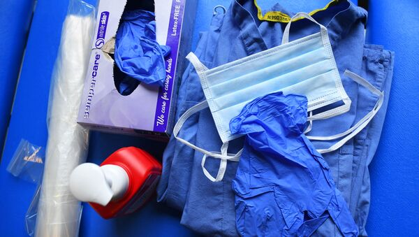 Level 1 Personal Protective Equipment (PPE) is seen at the Hospital for Tropical Diseases, as the number of coronavirus disease (COVID-19) cases grow around the world, in London, Britain April 1, 2020. Picture taken April 1, 2020.  - Sputnik International