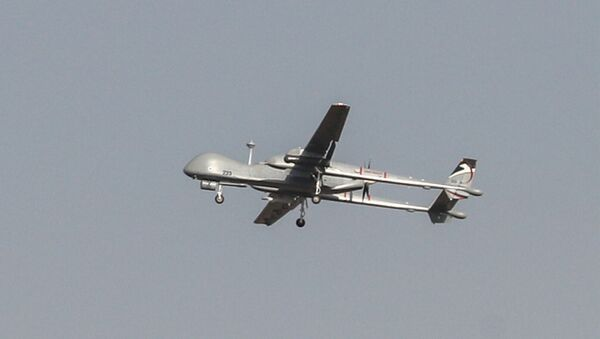 An Israeli Heron military drone flies over the southern Israeli city of Ashdod near the border with Gaza on November 13, 2019 - Sputnik International