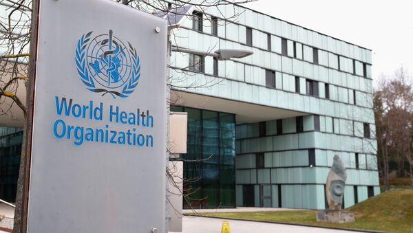 A logo is pictured outside a building of the  World Health Organization (WHO) during an executive board meeting on update on the coronavirus outbreak, in Geneva, Switzerland, February 6, 2020 - Sputnik International