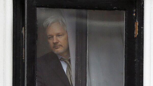 In this Feb. 5, 2016 file photo, Wikileaks founder Julian Assange walks onto the balcony of the Ecuadorean Embassy in London.  - Sputnik International