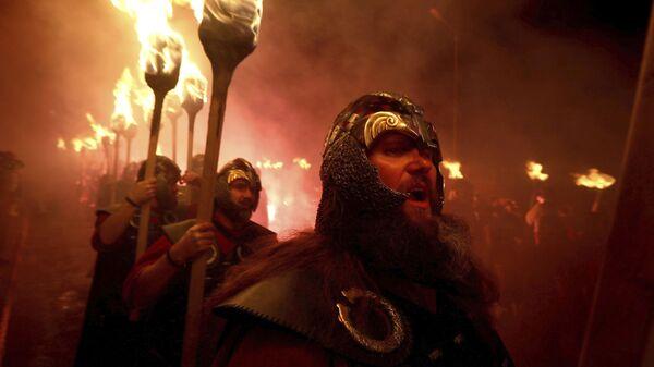 Members of the Jarl Squad in Lerwick, Scotland, on the Shetland Isles, perform the Up Helly Aa Viking festival, Tuesday, Jan. 28, 2020, in Lerwick, Scotland - Sputnik International