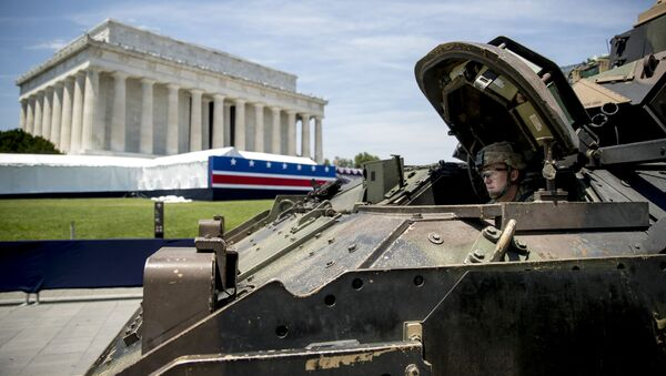 One of two Bradley Fighting Vehicles waits to be driven into place in front of the Lincoln Memorial for President Donald Trump's 'Salute to America' event honoring service branches on Independence Day, Wednesday, July 3, 2019, in Washington - Sputnik International