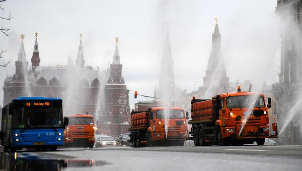 Disinfection of roads and sidewalks in Moscow - Sputnik International