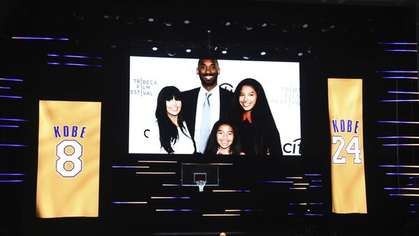 An image of Vanessa Bryant, from left, Kobe Bryant, Natalia Bryant, and Gianna Bryant appears during the Kobe Bryant tribute segment at the 51st NAACP Image Awards at the Pasadena Civic Auditorium on Saturday, Feb. 22, 2020, in Pasadena, Calif - Sputnik International