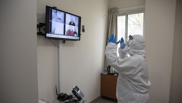 Israeli Professor Galia Rahavm, head of infectious diseases, shows one of the rooms where returning Israelis with suspected exposure to Coronavirus will stay under observation and isolation, at the Chaim Sheba Medical Center at at Tel Hashomer in Ramat Gan, Israel, Wednesday, Feb. 19, 2020. I - Sputnik International