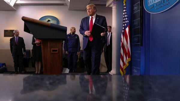 U.S. President Donald Trump arrives to address the daily coronavirus task force briefing at the White House in Washington, U.S., April 22, 2020. - Sputnik International