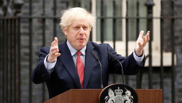 Britain's Prime Minister Boris Johnson speaks outside Downing Street after recovering from the coronavirus disease (COVID-19), London, Britain, April 27, 2020 - Sputnik International