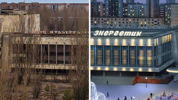 The community centre in Pripyat, Ukraine after the Chernobyl disaster (left) and the artist's impression (right) of how it would look if the disaster never happened - Sputnik International