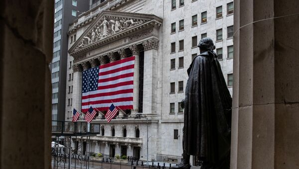 The New York Stock Exchange (NYSE) is seen in the financial district of lower Manhattan during the outbreak of the coronavirus disease (COVID-19) in New York City, U.S., April 26, 2020 - Sputnik International