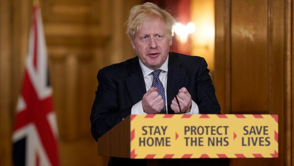 Britain's Prime Minister Boris Johnson speaks during a daily news conference to update on the coronavirus disease (COVID-19), at 10 Downing Street in London, Britain April 30, 2020 - Sputnik International