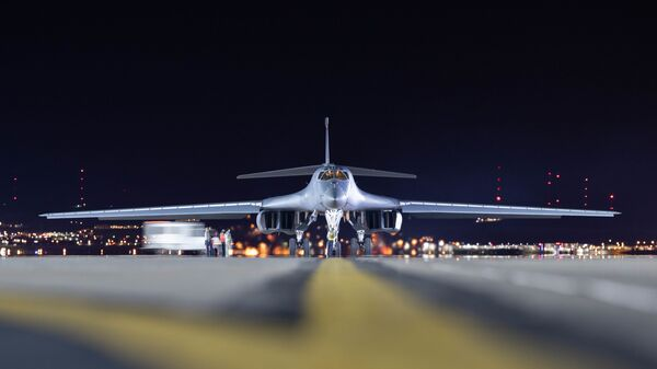 A B-1B Lancer assigned to the 28th Bomb Wing is taxied to parking at Ellsworth Air Force Base, S.D., April 30, 2020.  The B-1 returned to base after supporting a Bomber Task Force mission in the Indo-Pacific region.  - Sputnik International