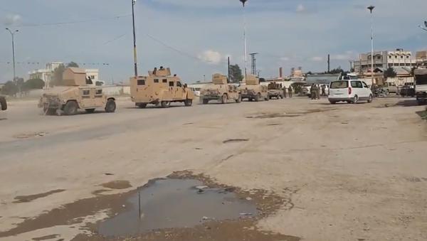 SDF vehicles move to quash a Daesh (ISIS) prisoner uprising in Hasakah, northeast Syria. May 3, 2020. - Sputnik International