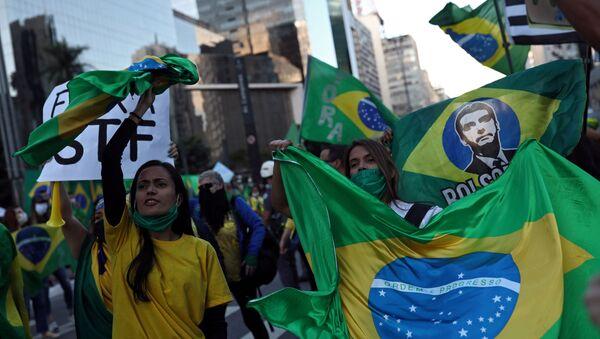 Supporters of Brazilian President Jair Bolsonaro in Sao Paulo - Sputnik International