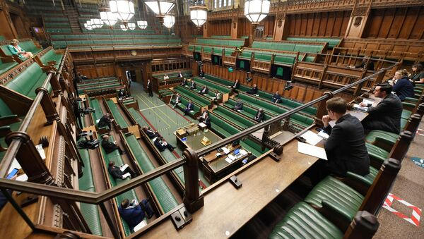 General view during the weekly question time debate at the Parliament, during the hybrid parliament session amid the coronavirus disease (COVID-19) outbreak, in London, Britain, April 22, 2020. - Sputnik International