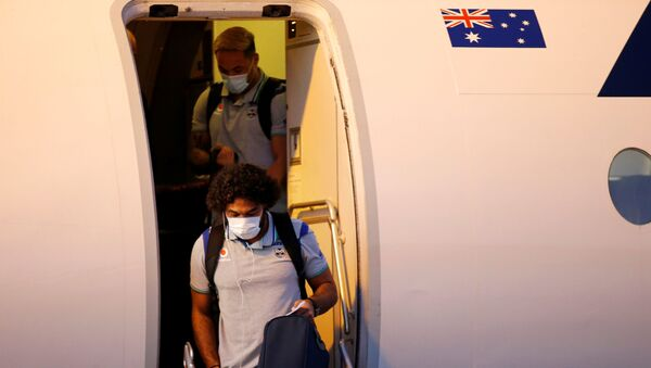 The New Zealand Warriors NRL team, which will live and train in Australia under quarantine conditions due to the coronavirus disease (COVID-19), arrives at the Tamworth Airport in Tamworth, Australia, May 3, 2020. Picture taken May 3, 2020.   - Sputnik International