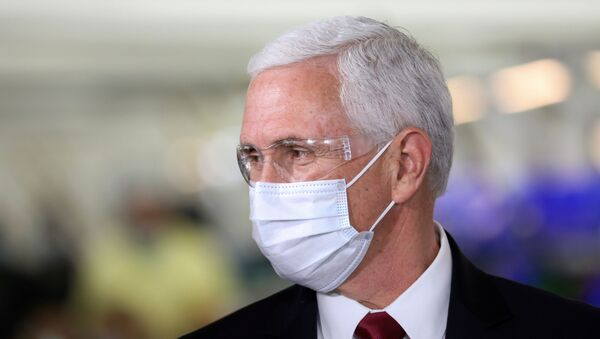 U.S. Vice President Mike Pence visits the General Motors Components Holding Plant that is manufacturing ventilators for use during the coronavirus disease (COVID-19) outbreak, in Kokomo, Indiana, U.S. April 30, 2020.  - Sputnik International