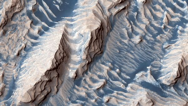 Sedimentary rock and sand, formed over millions or billions of years as loose sediment cemented into place before being eroded by winds into a zebra stripe-like pattern, are seen within Danielson Crater in this image taken by the Mars Reconnaissance Orbiter spacecraft, published September 19, 2019. - Sputnik International