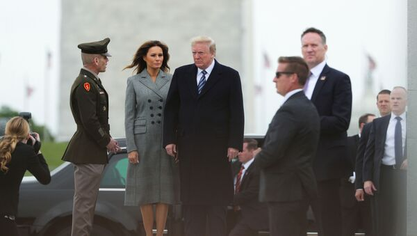 Donald Trump and first lady Melania Trump arrive for a Victory in Europe Day 75th anniversary ceremony at the World War II Memorial in Washington - Sputnik International