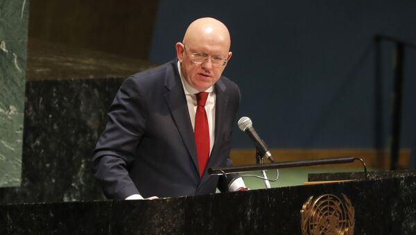 Russian ambassador to the United Nations Nebenzia Vassily speaks during a Holocaust memorial event at U.N. headquarters, Monday, Jan. 27, 2020. - Sputnik International