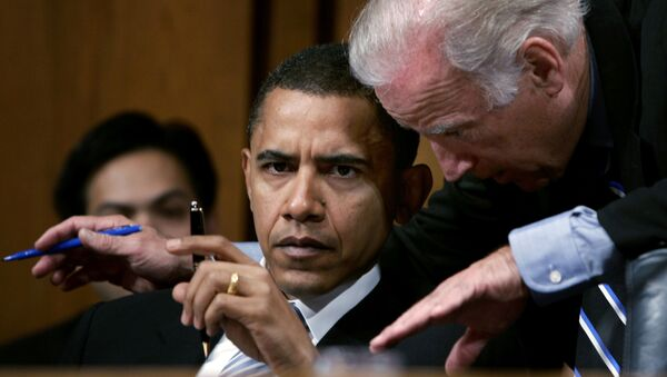 Senator Joseph Biden (D-De) confers with Senator Barack Obama (D-Il) during their participation in a Senate Foreign Relations Committee hearing on the nomination of John Bolton for the position of United States Ambassador to the United Nations, in Washington, U.S. April 11, 2005 - Sputnik International