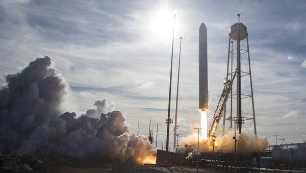 Northrop Grumman Antares rocket, with Cygnus resupply spacecraft onboard, launching from Pad-0A, on February 15, 2020 at NASA's Wallops Flight Facility in  Wattsville, Virginia. - Sputnik International