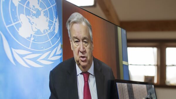 In this file handout photo released on April 03, 2020 by the United Nations, UN Secretary-General Antonio Guterres holds a virtual press conference, at UN headquarters in New York in which he enewed his call for a global ceasefire, urging all parties to conflict to lay down arms and allow war-torn nations to combat the coronavirus pandemic. - Broadly speaking, the coronavirus pandemic may have exacerbated global conflicts and disputes, especially between the United States and China, but in some cases it has also sparked cooperation between longtime rivals.  - Sputnik International