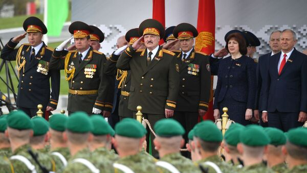Belarusian President Alexander Lukashenko at the military parade dedicated to the 75th anniversary of victory in the Great Patriotic War, Minsk, Belarus, May 9, 2020. - Sputnik International