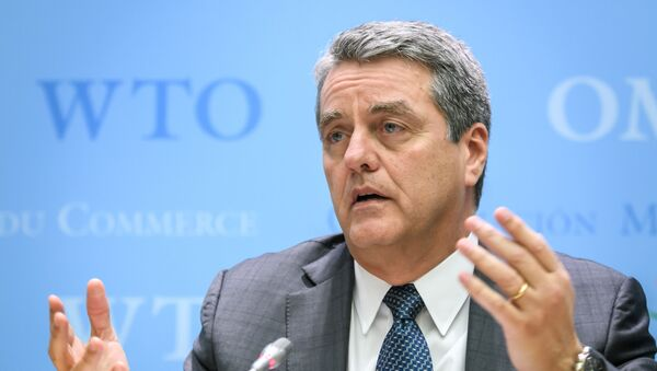 World Trade Organization (WTO) Director General Roberto Azevedo addresses a press conference following a WTO general council meeting on December 10, 2019 at the intergovernmental organization's headquarters in Geneva. - Sputnik International