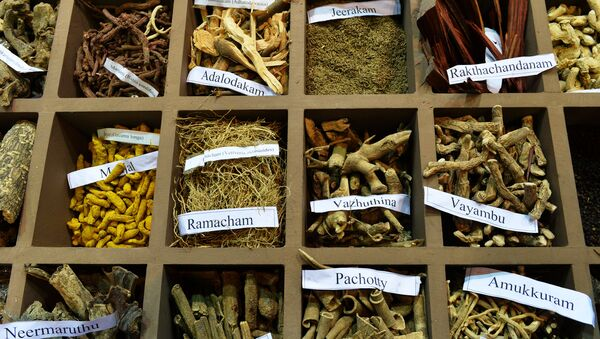 In this photograph taken on November 6, 2014, a display of herbs on a stand at the sixth World Ayurveda Congress and Arogya Expo in New Delhi.  - Sputnik International