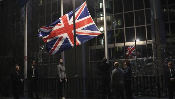 The Union flag is lowered and removed from outside of the European Parliament in Brussels, Friday, Jan. 31, 2020 - Sputnik International
