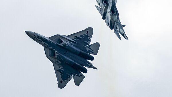 Su-57 fifth-generation fighter jets in Zhukovsky - Sputnik International